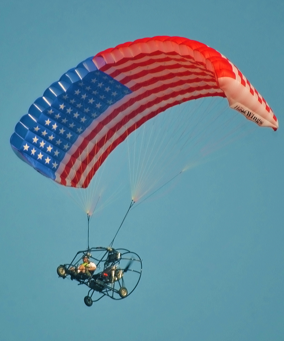 Powered Parachute with American Flag Wing